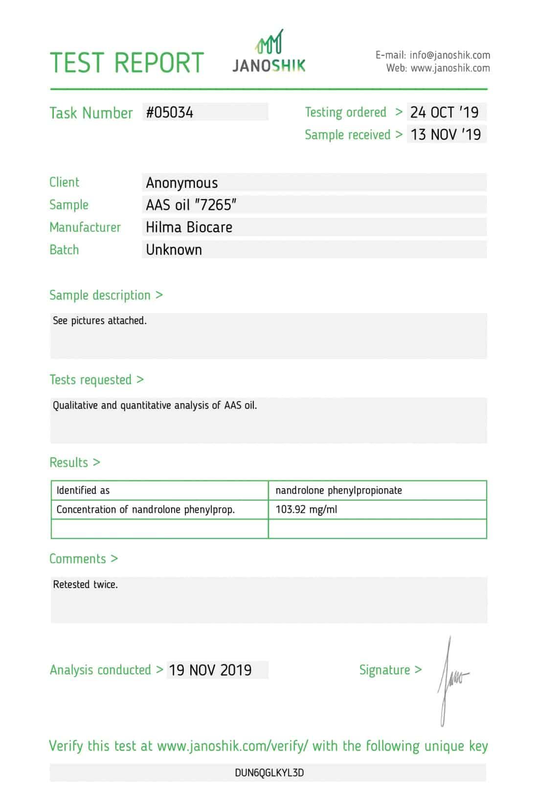 Hilma Biocare NANDROLONE PHENYLPROPIONATE